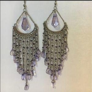 Earrings - teardrop silver/purple stunning